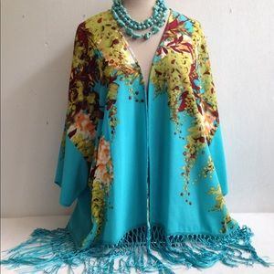 Boho Floral Fringed Kimono Jacket Tunic